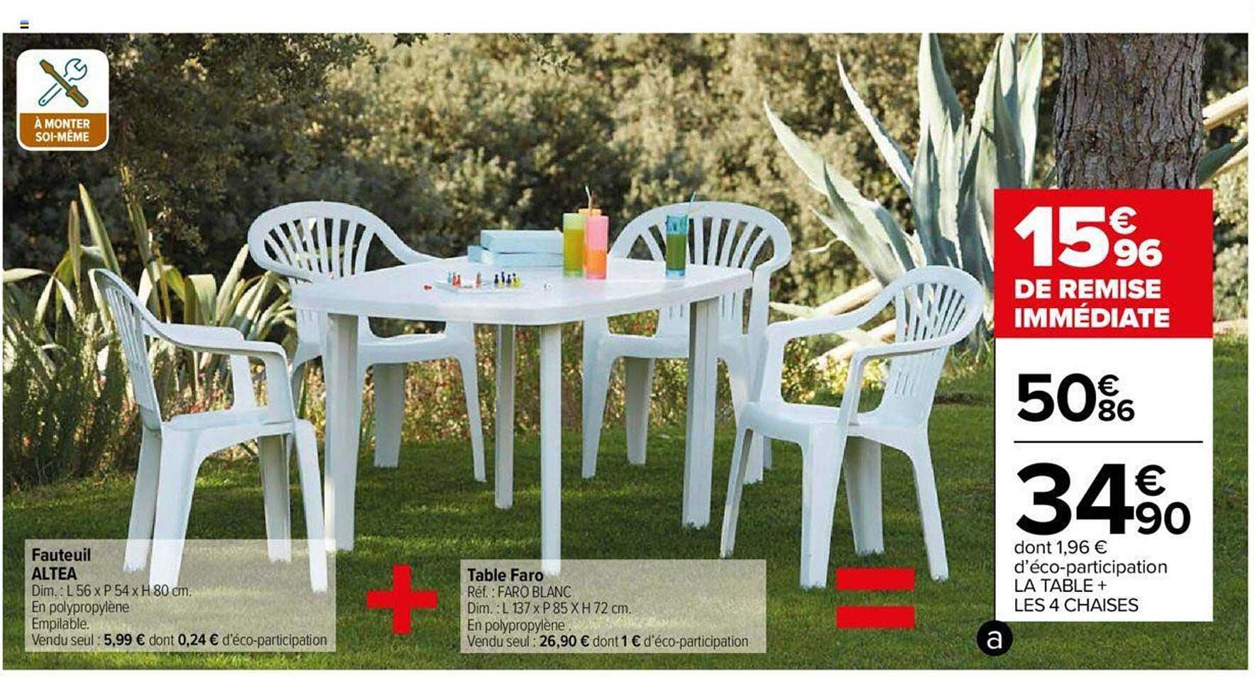 offre fauteuil altea table faro chez