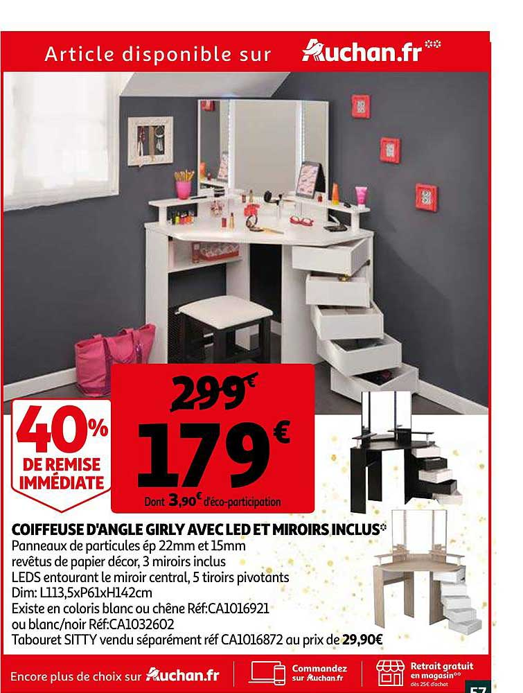 offre coiffeuse d angle girly avec led