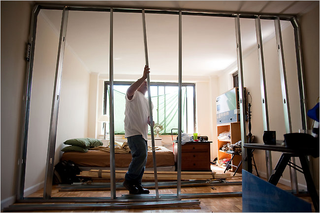 Danny Moreno Of All Week Walls Puts The Frame Up For A Temporary Wall That  WillTemporary Bedroom Walls   Ideasidea. Temporary Wall Partition Bedroom. Home Design Ideas