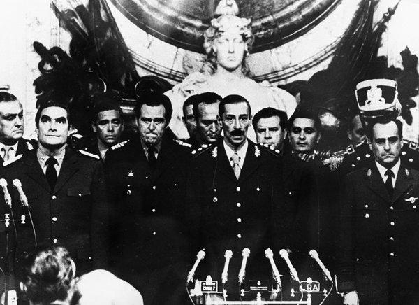 Jorge Rafael Videla, center, in 1976, with members of the Argentine military junta.<br />&nbsp;