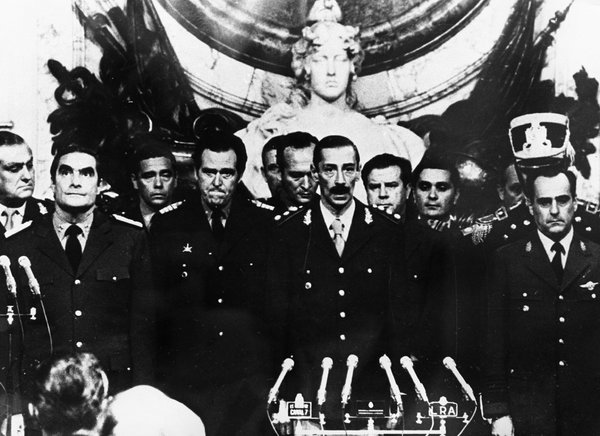 Jorge Rafael Videla, center, in 1976, with members of the Argentine military junta.<br />&nbsp;