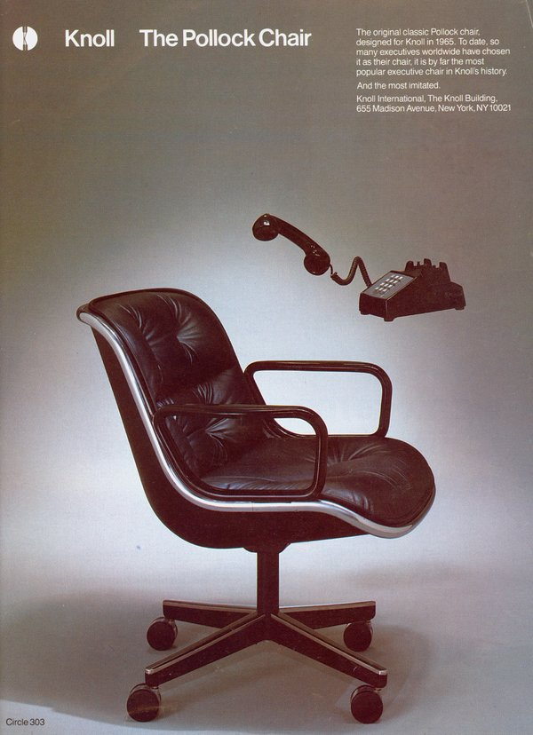 pollock executive chair replica dining covers india charles designer of popular office dies at 83 the new york times