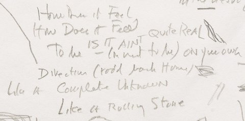 Dylan's Handwritten Lyrics to 'Like a Rolling Stone' to Be