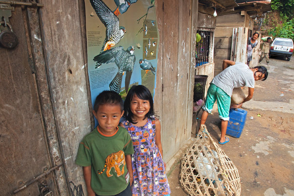 Educational posters teach the children of Pangti about the life cycle of the Amur falcons, and in school, students sing a song that urges: 'Don't chase them, don't let them fly away from us.' Credit Ramki Sreenivasan/Conservation India