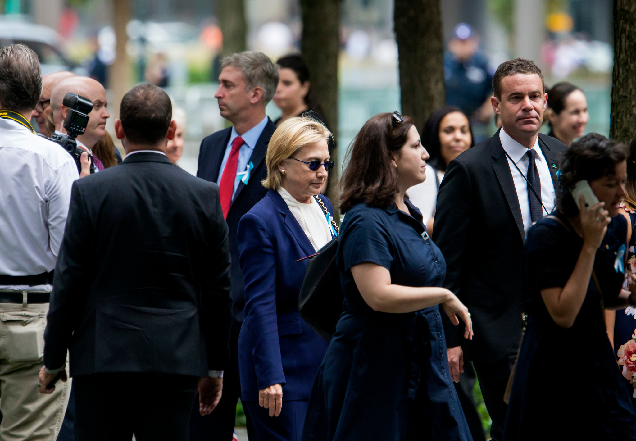 hillary clinton briefly appeared