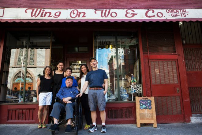 The family behind Wing on Wo & Co., which is headed by Nancy, 86, and Shuck Seid, 92, at center. Credit Alex Wroblewski/The New York Times