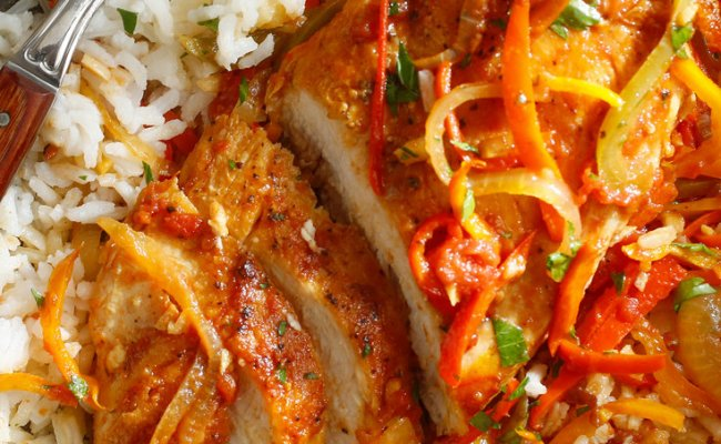 Chicken Breasts With Peppers Tomatoes And Saffron Recipe