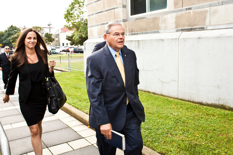 Senator Robert Menendez of New Jersey, facing charges of federal corruption, at Federal Court in Newark last week. Credit Bryan Anselm for The New York Times