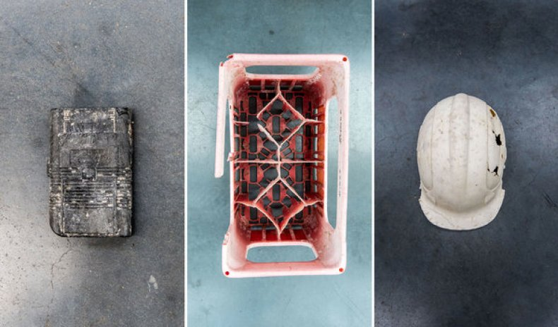 A Game Boy, a crate and a hard hat, found in the ocean during the work.