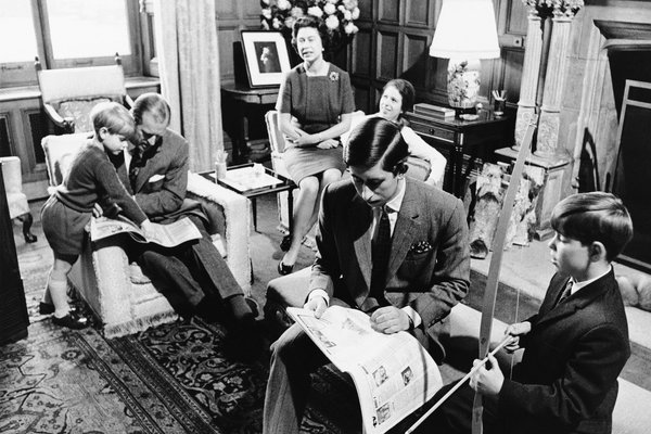 The royal family in 1969. From left, Prince Edward, Prince Philip, Queen Elizabeth, Princess Anne, Prince Charles and Prince Andrew.
