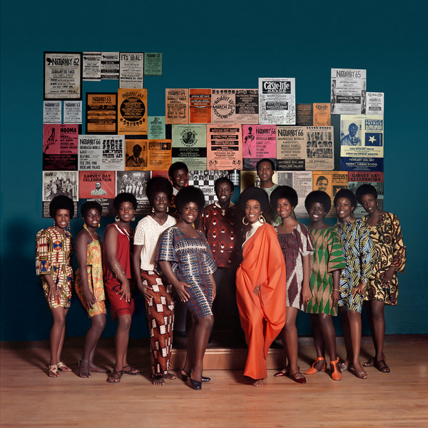 Untitled (Naturally '68 photo shoot in the Apollo Theater featuring Grandassa models and AJASS founding members Frank Adu, Elombe Brath and Ernest Baxter), 1968