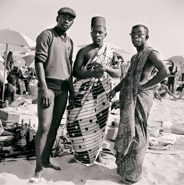 Untitled (Riis Beach with Jimmy, Kwame and Elombe), 1963.