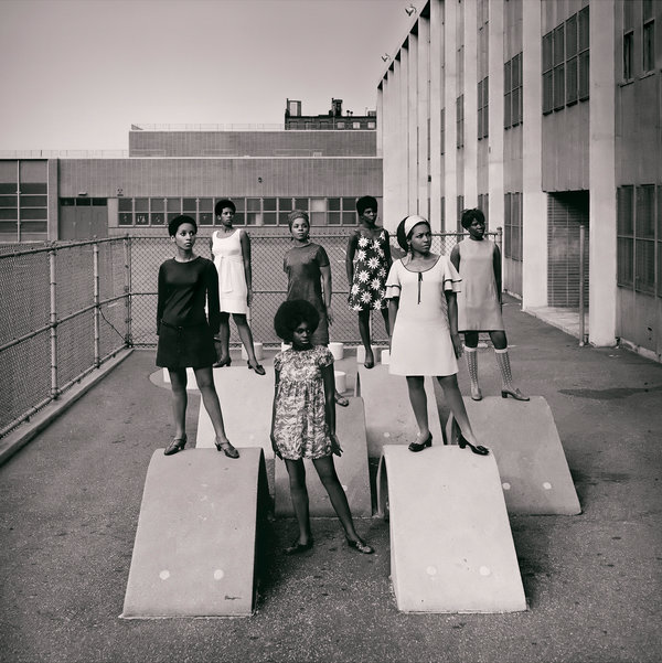 Untitled (Photo shoot at a school for one of the many modeling groups who had begun to embrace natural hairstyles in the 1960s), 1966.