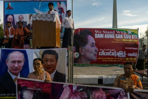 A demonstration organized by a Buddhist monk in support of Daw Aung San Suu Kyi's handling of the Rohingya crisis in Yangon, Myanmar, in 2017.