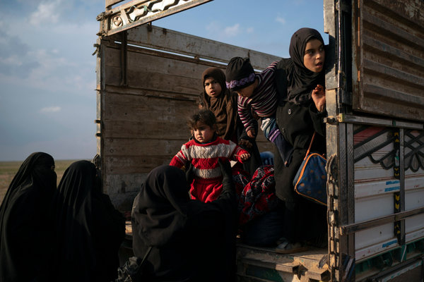 Women and children evacuating from the last territory held by Islamic State militants in Baghuz, Syria, last week.CreditCreditFelipe Dana/Associated Press