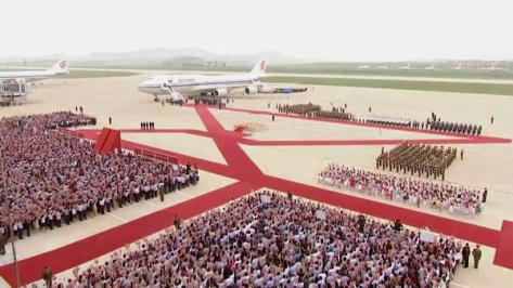 A ceremony to welcome President Xi Jinping of China in Pyongyang, North Korea, on Thursday.