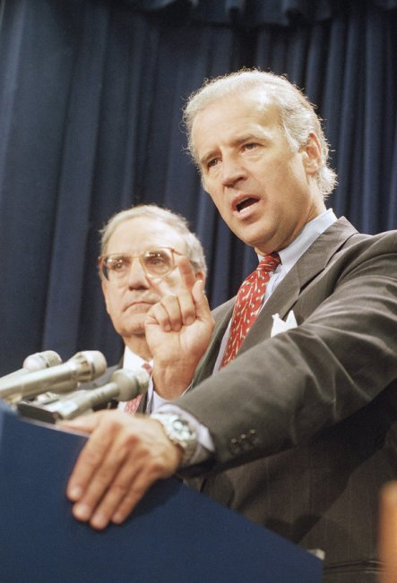 Joseph R. Biden Jr. in 1994, after a vote ensuring the passage of a vast crime bill, one of several key pieces of crime legislation he helped write.