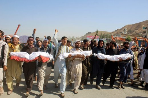 Protesters on Tuesday carried the bodies of people killed in an airstrike in Baghlan Province, Afghanistan.
