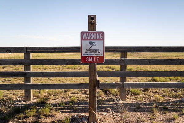 A camera posted at the entrance to Mr. Epstein's ranch. In New Mexico, Mr. Epstein was able to avoid inclusion in the state's sex offender registry.