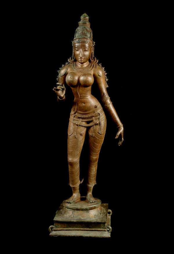 Officials said this statue of the goddess Uma Parameshvari was one of the smuggled items. It is believed to have been taken from a temple in 2005, restored in London and shipped to New York.