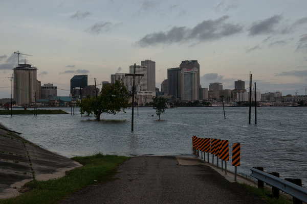 The swollen Mississippi River in the Algiers Point neighborhood of New Orleans on Friday.