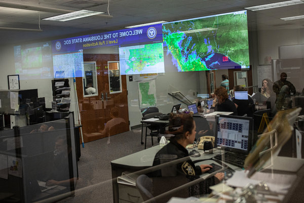 Federal, state and local officials monitored the storm at the State Emergency Operations Center in Baton Rouge, La., on Saturday.