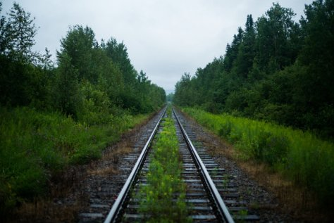 Railway tracks leading toward the crash site in Lac-Mégantic.