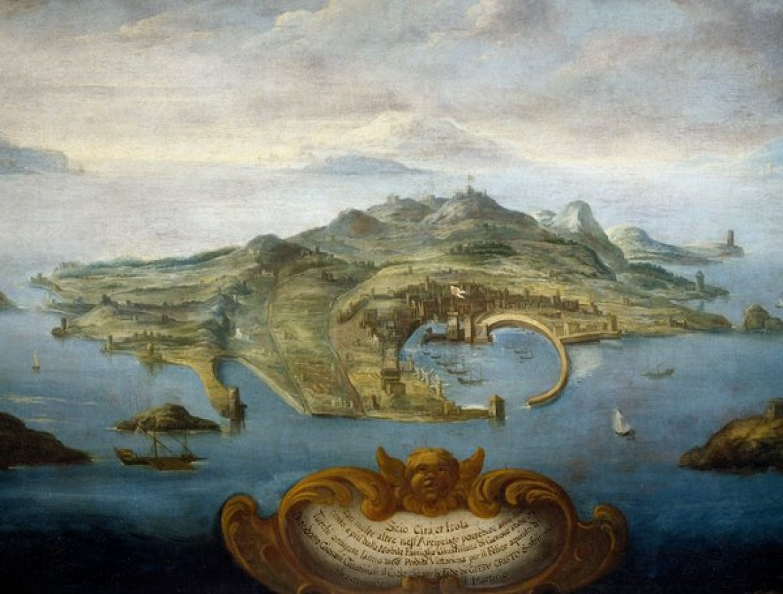 A 17th-century rendering of the island of Chios.