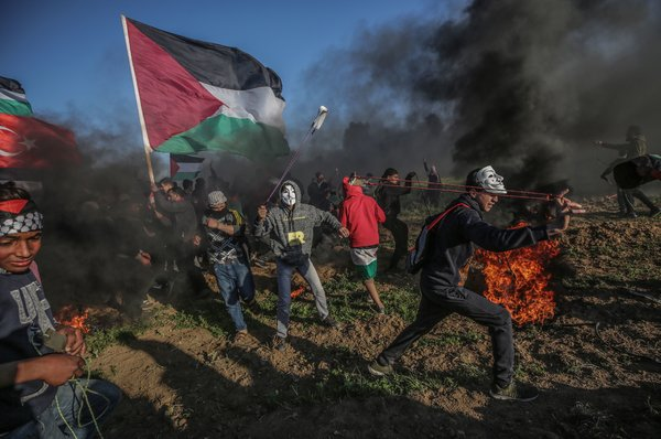 A protest in the Gaza Strip in March supporting the right of Palestinian refugees and their descendants to return to their ancestral lands in Israel — a goal of the B.D.S. movement.