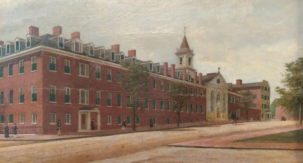 Detail of an 1846 James Alexander Simpson painting of Georgetown Visitation Convent in Washington. A few years ago, an archivist discovered a darker side of the order's official school history.