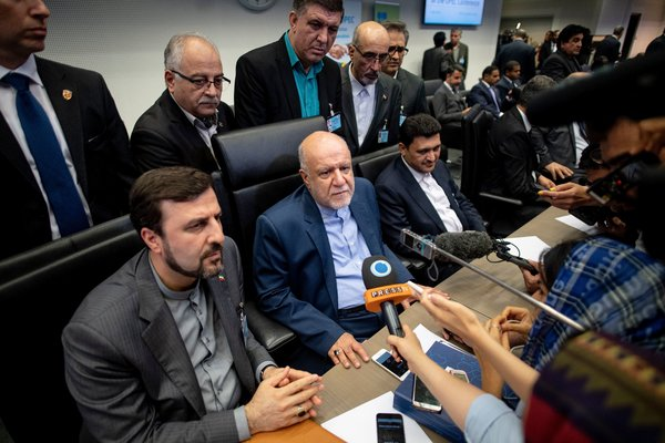 """Information about Iran's oil exports is war information,"" said Iran's oil minister, Bijan Zanganeh, center."