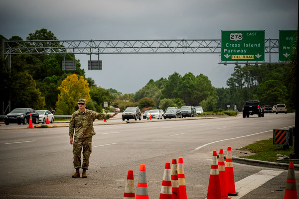 A steady flow of traffic headed away from Hilton Head Island, S.C., after mandatory evacuations were ordered ahead of Hurricane Dorian's anticipated arrival.