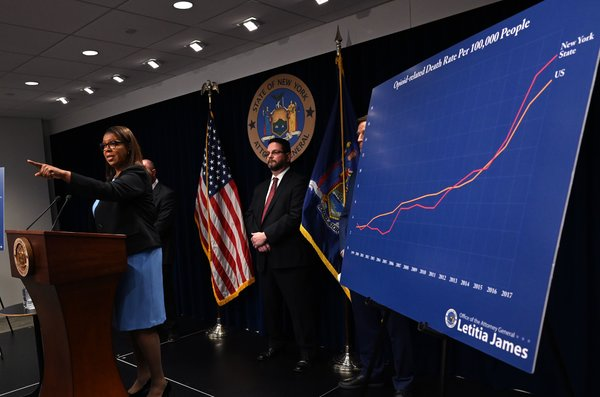 Letitia James, the New York attorney general, announcing the state's lawsuit against the Sackler family at a news conference in March. {focus_keyword} New York Uncovers $1 Billion in Sackler Family Wire Transfers merlin 152727285 ad83f0c6 56af 4f3e 8543 0df185ca4f07 articleLarge
