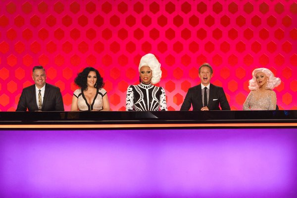 """RuPaul Charles, center, on """"RuPaul's Drag Race,"""" won another Emmy for outstanding reality host."""
