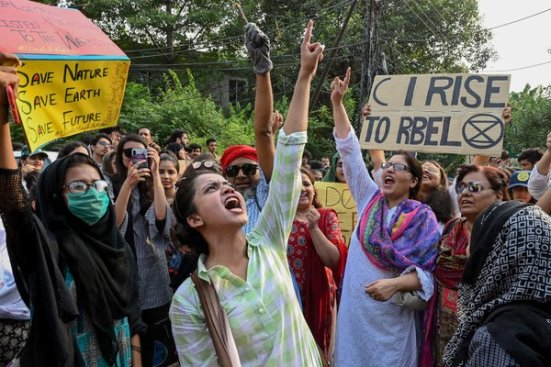 A group protesting inLahore, Pakistan.