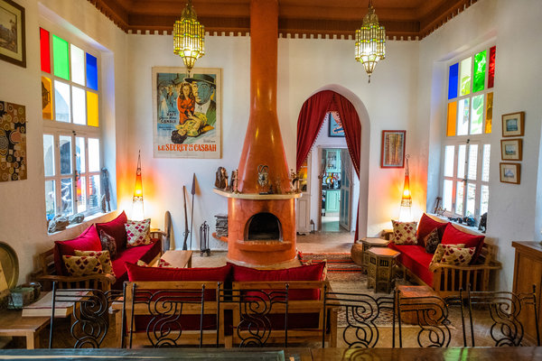 The lobby of Riad Watier, a century-old primary-school-turned guesthouse in Essaouira's old quarter. One researcher estimates that almost 400 guesthouses in the area are expatriate-owned.