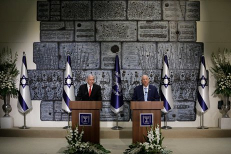 President Reuven Rivlin of Israel, right, chose Prime Minister Benjamin Netanyahu to form a new government.