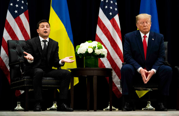 President Trump met with his Ukrainian counterpart, Volodomyr Zelensky, in New York on Wednesday.
