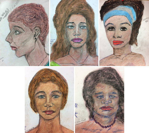 The F.B.I. released five sketches drawn by Samuel Little of unidentified women he says he killed. Their locations, clockwise from top left: New Orleans, 1982; Las Vegas, 1993; Miami, 1971-72; Covington, Ky., 1984; North Little Rock, Ark., 1992-94.