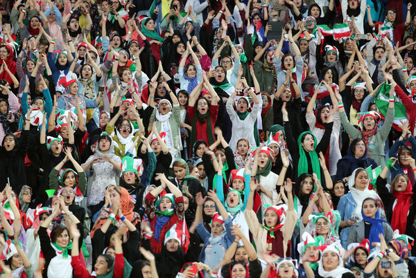 Women at a soccer match at Tehran's Azadi stadium on Thursday. Their presence had been banned for nearly 40 years.
