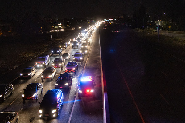 Vehicles clogged the southbound side of Highway 101 in Rohnert Park, Calif., just before dawn on Sunday.