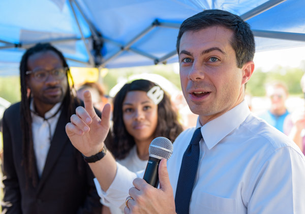 Pete Buttigieg spoke on Saturday to South Carolina voters at a homecoming tailgate event at Allen University, a historically black campus in Columbia.