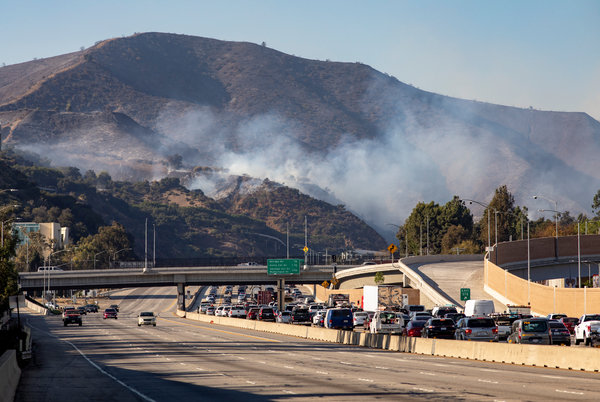 The Getty fire prompted long shutdowns of the 405 freeway in both directions on Monday.