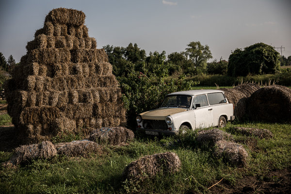 An old Trabant at the farm of Istvan Teichel in Lepseny, Hungary.