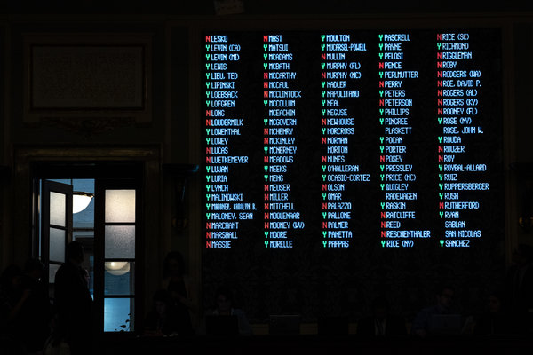 A screen showing how each member voted was on display above reporters in the House chamber.