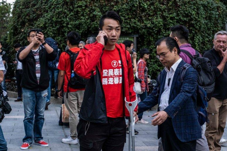 周一,民间人权阵线领召集人岑子杰在香港理工大学外。