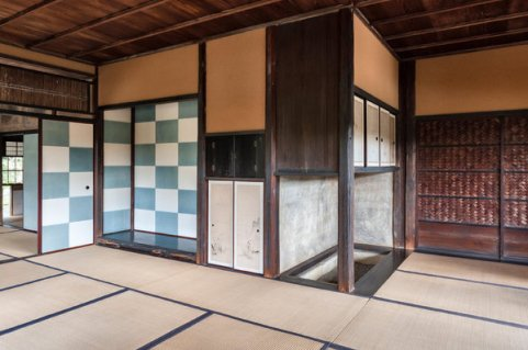 The interior of the Shokin-tei tea pavilion at the Katsura Imperial Villa in Kyoto, photographed in 2008.