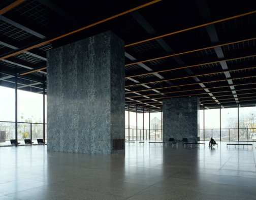 The flexible exhibition space of the Neue Nationalgalerie in Berlin, photographed in 2001.