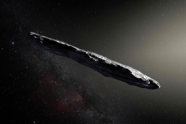 Artist's impression of Oumuamua, the first known interstellar object to enter our solar system. It was first observed in October 2017.