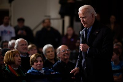 Former Vice President Joseph R. Biden Jr. spoke during a campaign event in Peterborough, N.H., on Sunday.